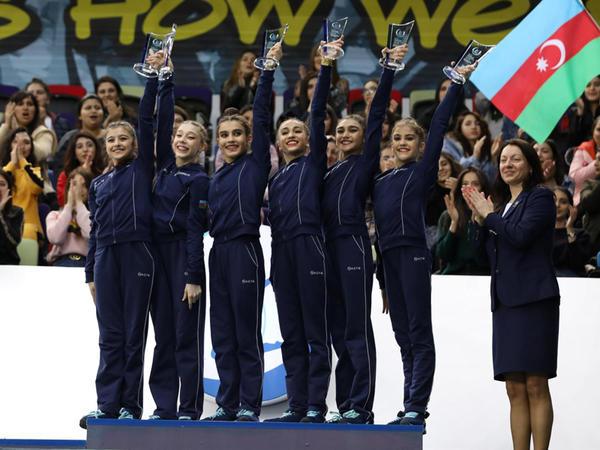 Milli Gimnastika Arenasında AGF Junior Trophy turnirinin qrup hərəkətlərində çoxnövçülükdə qalib və mükafatçılar mükafatlandırılıb - FOTO