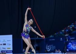Azərbaycanlı gimnast Nərminə Səmədova AGF Junior Trophy beynəlxalq turnirində bürünc medal qazanıb