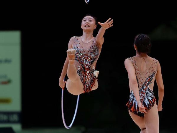 Milli Gimnastika Arenasında bədii gimnastika üzrə Dünya Kubokunun iştirakçılarının podium məşqləri keçirilib - FOTOREPORTAJ