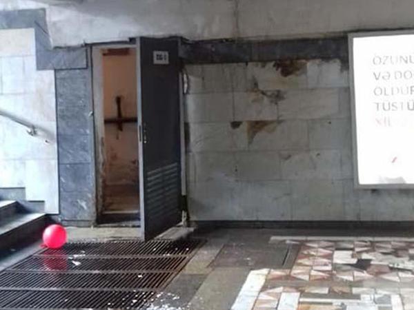 """Metronun """"Həzi Aslanov"""" stansiyasının üzərindən keçən su xəttində qəza"""