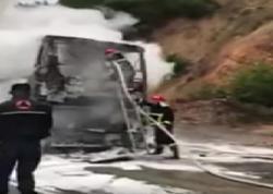 Antalyadan Tbilisiyə gələn sərnişin avtobus yanıb