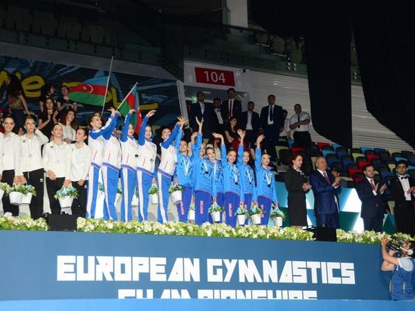 Bakıda bədii gimnastika üzrə Avropa çempionatının qalib komandaları mükafatlandırılıb - FOTO