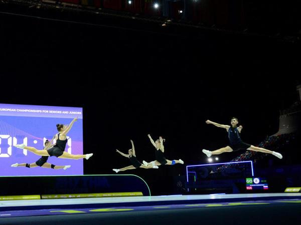 Milli Gimnastika Arenasında aerobika gimnastikası üzrə Avropa çempionatının iştirakçılarının podium məşqləri keçirilir - FOTOREPORTAJ