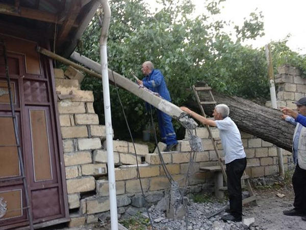 Güclü külək Şəkidə fəsadlar törətdi