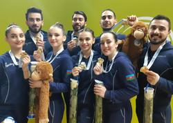 """Biz istədiyimizə nail olduq – qızıl medalı qazanan <span class=""""color_red"""">Azərbaycan gimnastları</span>"""