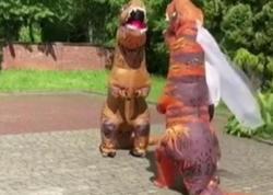 Bəylə-gəlin toylarına dinozavr paltarında gəldilər
