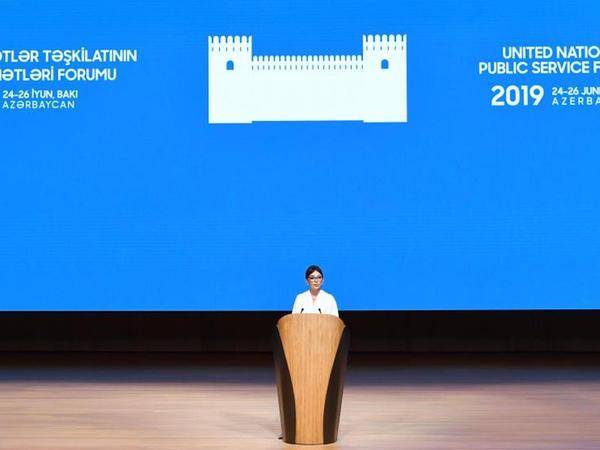 Birinci vitse-prezident Mehriban Əliyeva BMT-nin Dövlət Xidmətləri Forumunun açılış mərasimində iştirak edib - FOTO