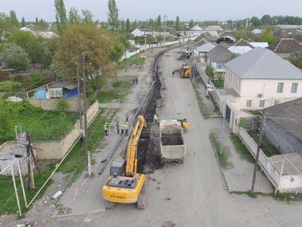 Ağdaş şəhərinin su təchizatı və kanalizasiya sistemləri yenilənir - FOTO