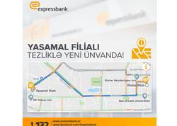 Expressbank-ın «Yasamal» filialı ünvanını dəyişir