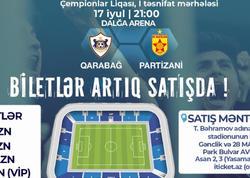 """""""Qarabağ"""" - """"Partizani"""" oyununun biletləri satışda"""