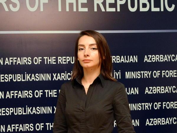 Leyla Abdullayeva: Ölkəmizin hazırda Ermənistan silahlı qüvvələrinin hərbi işğalı altında olan Dağlıq Qarabağ bölgəsi dünyanın heç bir suveren dövləti tərəfindən tanınmır