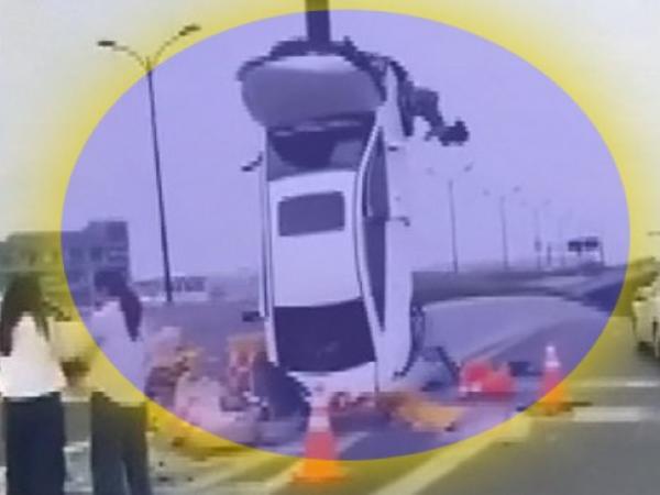 """Xanım sürücü avtomobili """"şahə"""" qaldırdı - <span class=""""color_red""""> ŞOK VİDEO</span>"""