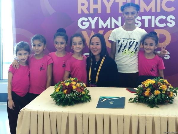 Milli Gimnastika Arenasında Aliyə Qarayeva ilə görüş keçirilib - FOTO