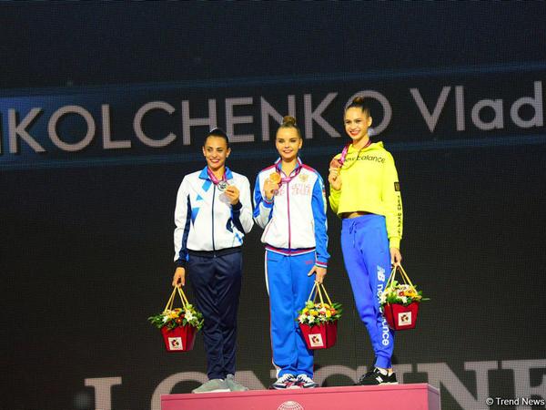 Bakıda bədii gimnastika üzrə dünya çempionatı finallarının qalibləri mükafatlandırılıb - FOTO