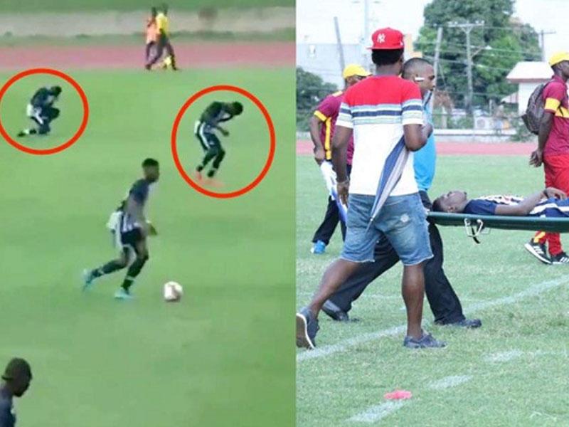 Oyun zamanı futbolçuları ildırım vurdu -
