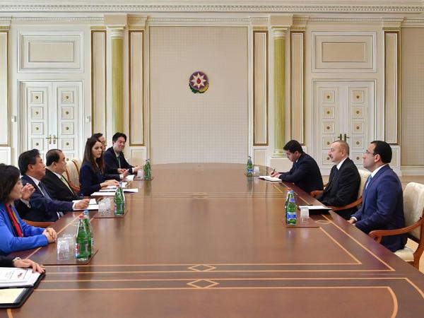Prezident İlham Əliyev Koreya Respublikası Milli Assambleyasının sədrini qəbul edib - FOTO