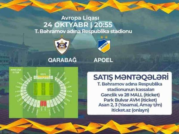 """&quot;Qarabağ&quot; - APOEL: <span class=""""color_red"""">biletlər satışa çıxarılır</span>"""