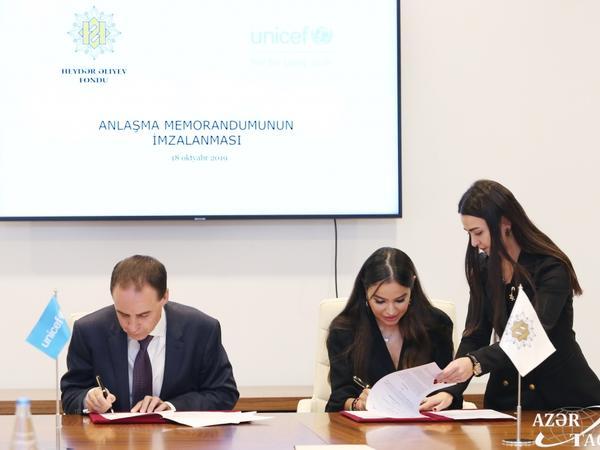 Heydər Əliyev Fondu ilə UNİSEF arasında Anlaşma Memorandumu imzalanıb - FOTO