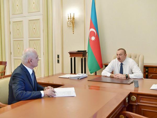 Prezident İlham Əliyev Şahin Mustafayevi yeni vəzifəyə təyin olunması ilə əlaqədar qəbul edib