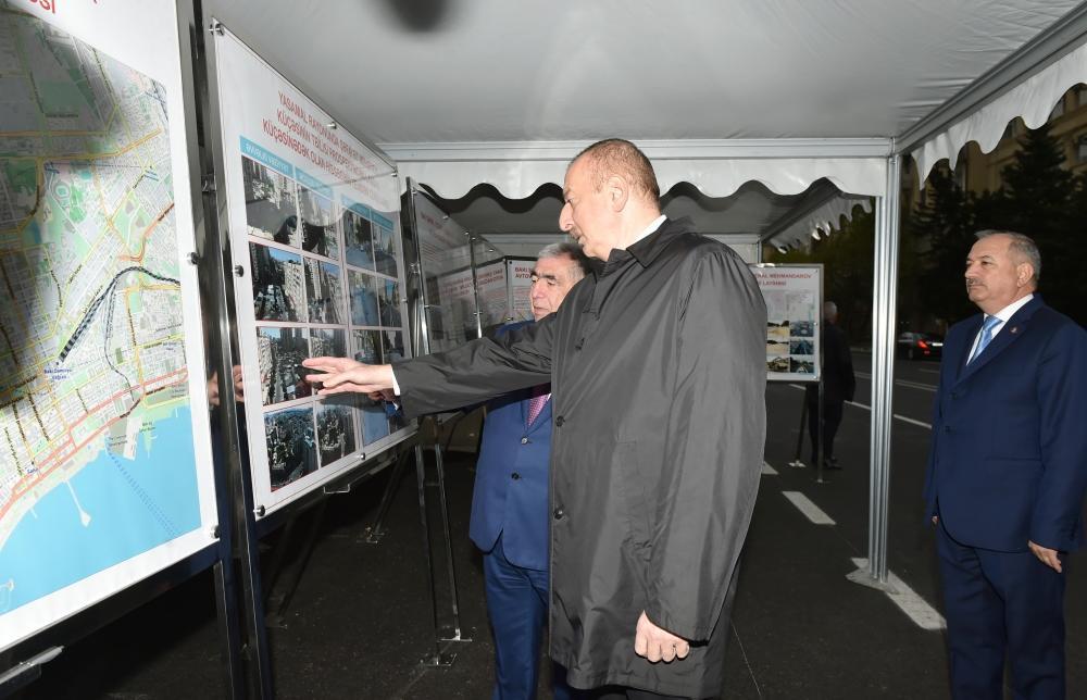 Prezident İlham Əliyev paytaxtın Şəfayət Mehdiyev küçəsinin Tbilisi prospektindən Landau küçəsinədək olan hissəsində yenidənqurmadan sonra görülən işlərlə tanış olub - FOTO