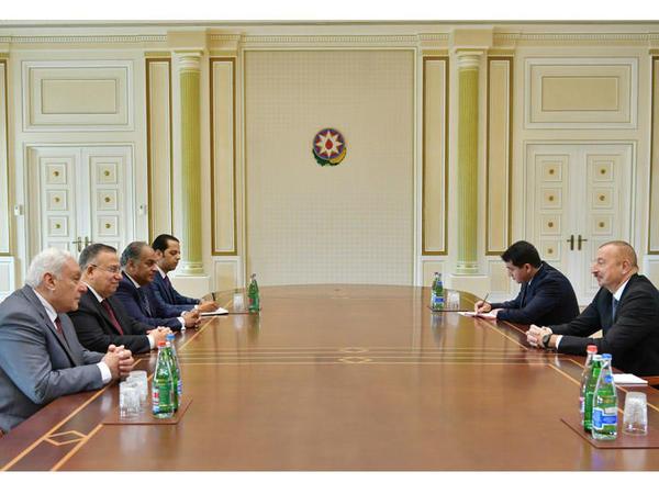 Prezident İlham Əliyev Misirin Nümayəndələr Palatası sədrinin birinci müavininin başçılıq etdiyi nümayəndə heyətini qəbul edib - FOTO