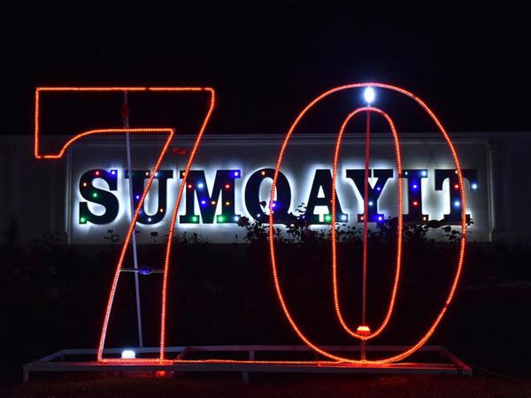 Şəhər statusu verilməsinin 70 illiyini qeyd edən Sumqayıtın gecə görüntüləri - FOTOREPORTAJ