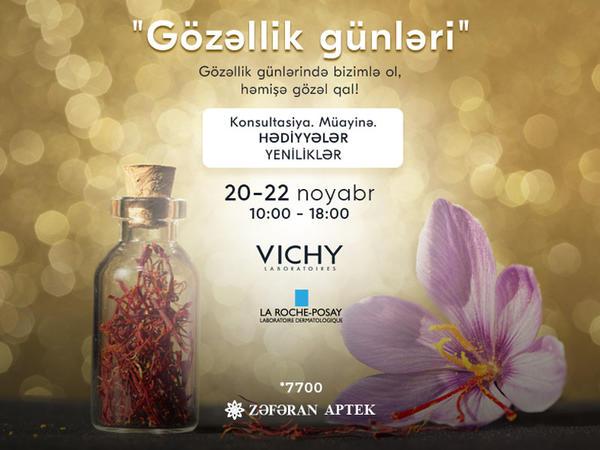 """20-22 noyabr Zəfəran Apteklərdə """"Gözəllik günü""""!"""