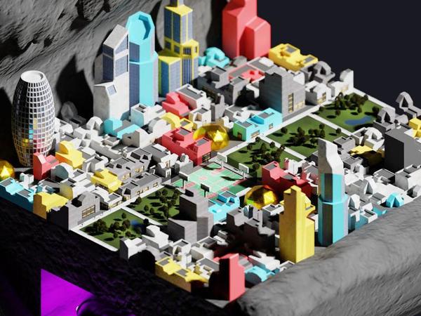 Ayda qurulacaq şəhərlərin quruluşunu göstərən 3D model