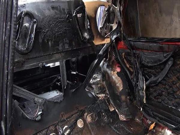 Ağstafada səsgücləndirici quraşdırılan avtomobil küçədə yandı - FOTO