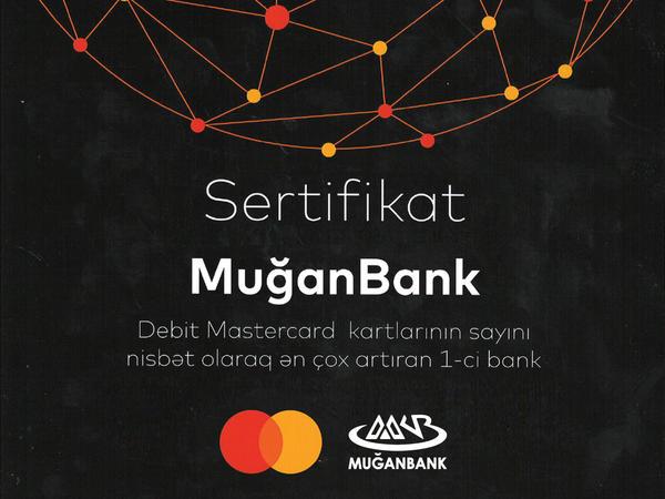 """""""Muğanbank"""" ASC """"Mastercard"""" Beynəlxalq Kart Təşkilatı tərəfindən mükafatlandırılıb"""