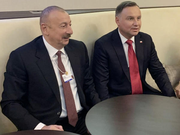 Azərbaycan Prezidenti İlham Əliyevin və Polşa Prezidenti Andjey Dudanın Davosda görüşü olub - FOTO