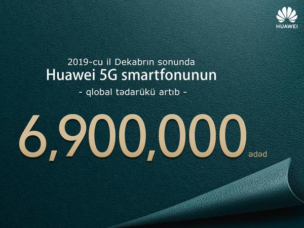 """""""Huawei"""" 2019-cu ildə dünyaya yeni nəsil əlaqə gətirən 6.9 milyon 5G smartfonu bazara çıxarmışdır"""