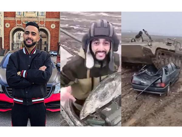 """Rusiyada yaşayan azərbaycanlı tankla """"015""""in üstündən keçdi - VİDEO"""