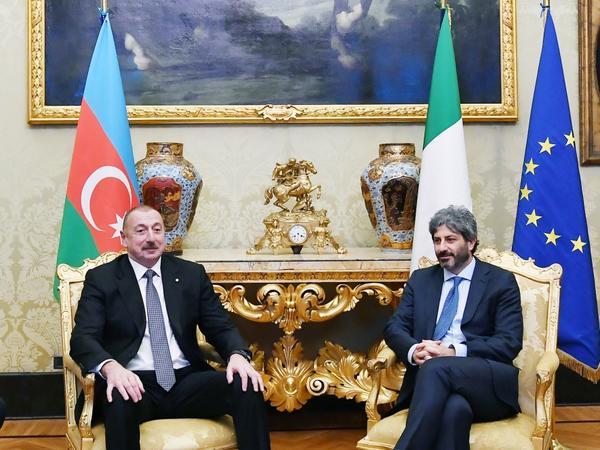 Prezident İlham Əliyev İtaliya Deputatlar Palatasının sədri Roberto Fiko ilə görüşüb - FOTO