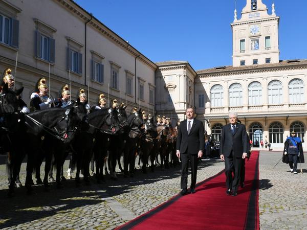 Prezident İlham Əliyevin Romada rəsmi yolasalma mərasimi olub - FOTO