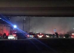Bakıda qəzaya uğrayan avtomobil yandı - VİDEO