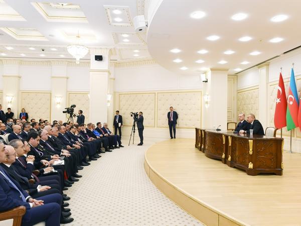 Azərbaycan və Türkiyə prezidentləri mətbuata bəyanatlarla çıxış ediblər
