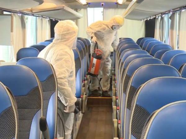 Bakıda avtobuslar dezinfeksiya edilir