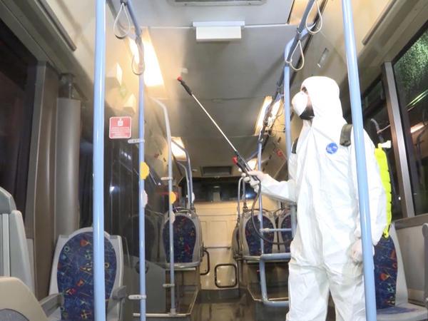 """""""BakuBus"""" avtobusları dezinfeksiya olunur"""