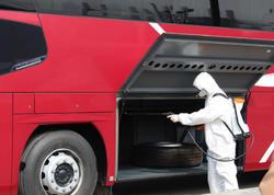 """Avtovağzalda hər gün 300-dən çox avtobus dezinfeksiya olunur - <span class=""""color_red"""">FOTO</span>"""