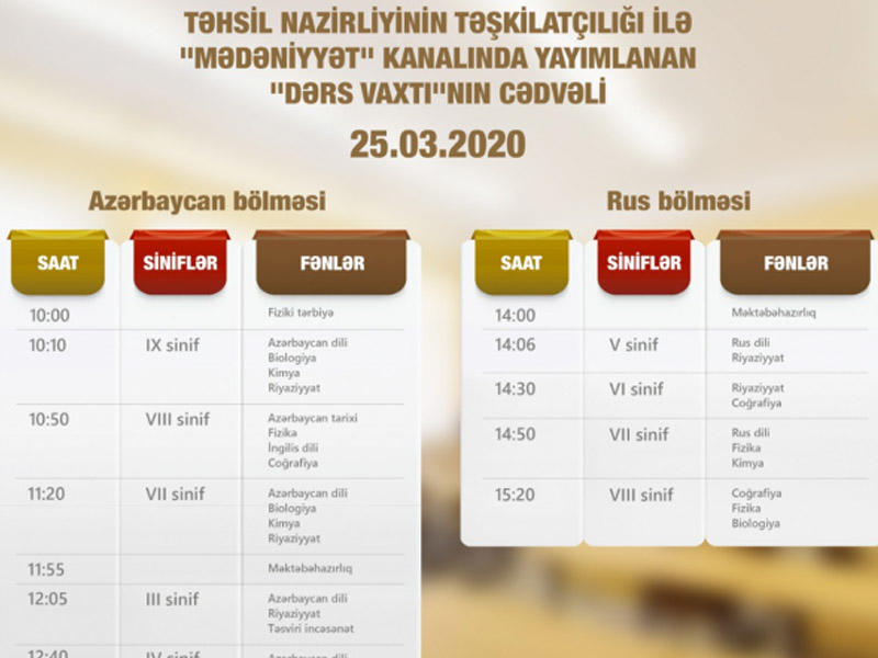 """""""Dərs vaxtı"""" verilişinin martın 25-i üçün cədvəli müəyyənləşdirilib"""