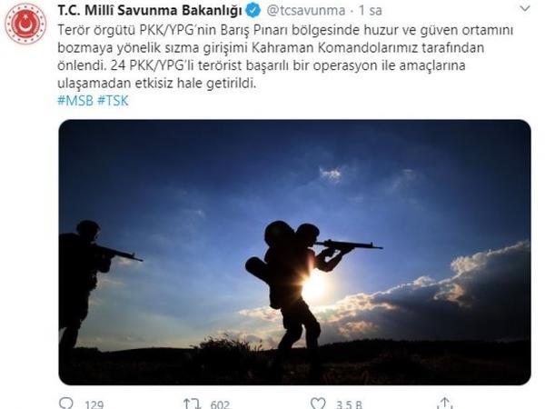 Suriya ərazisində 24 terrorçu zərərsizləşdirilib