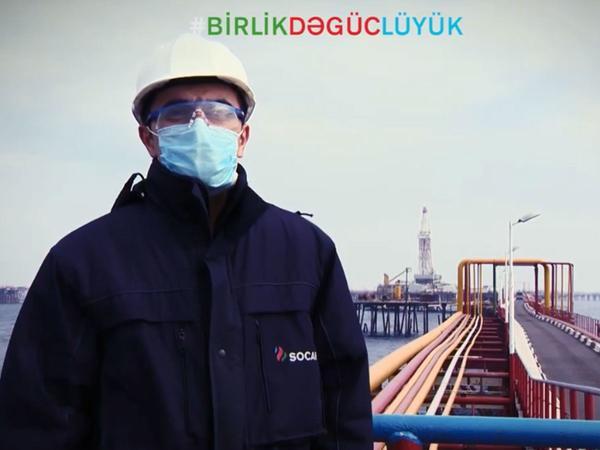 """Azərbaycan neftçiləri koronavirusla bağlı həmrəylik çağırışı ediblər - <span class=""""color_red"""">VİDEO</span>"""