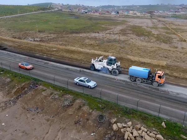 Masazır-Novxanı avtomobil yolunun 2.5 km-lik hissəsi yenidən qurulur - FOTO