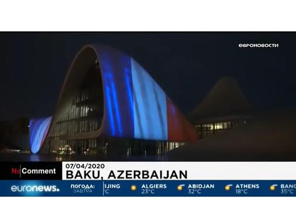 """""""Euronews"""" Heydər Əliyev Mərkəzinin COVID-19 yayılan ölkələrlə həmrəyliyini nümayiş etdirdi - VİDEO"""