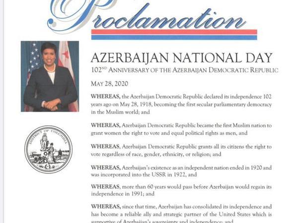 ABŞ-ın paytaxtında Azərbaycan Milli Günü bəyan edildi
