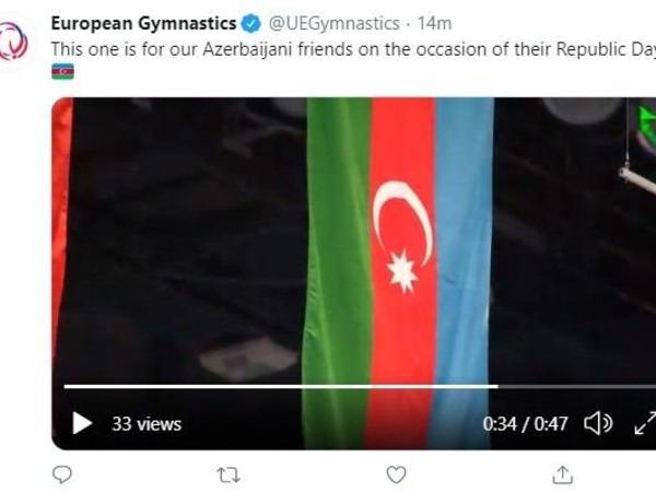 """Avropa Gimnastikası Respublika Günü ilə bağlı paylaşım edib - <span class=""""color_red"""">VİDEO</span>"""
