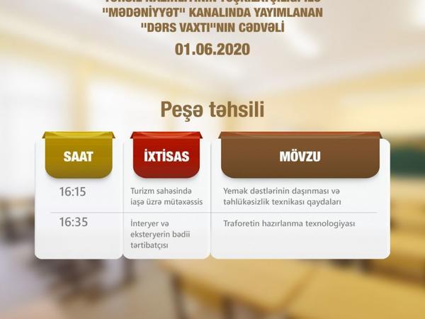 """""""Dərs vaxtı"""" verilişinin və Peşə dərslərinin sabahkı cədvəli müəyyənləşdirilib"""