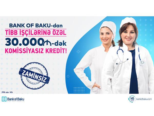 Bank of Baku-dan tibb işçilərinə özəl  KOMİSSİYASIZ, ZAMİNSİZ 30.000 AZN-dək KREDİT!