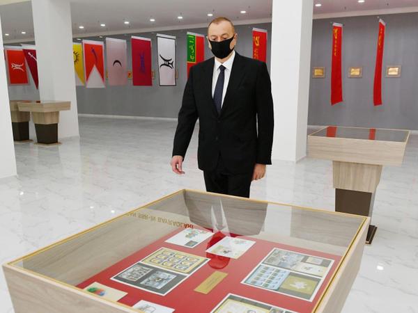Prezident İlham Əliyev Tərtərdə Dövlət Rəmzləri Muzeyinin açılışında iştirak edib - FOTO